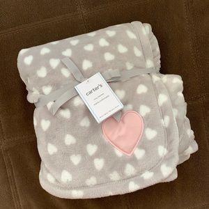 Carter's Baby Girl HEARTS Plush Blanket, Gray